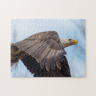 Bald Eagle with a wad of hay Jigsaw Puzzle
