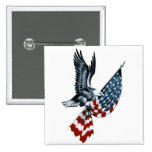 Bald Eagle with American Flag 2 Inch Square Button