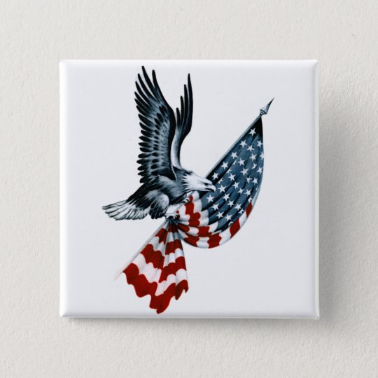 Bald Eagle with American Flag Button
