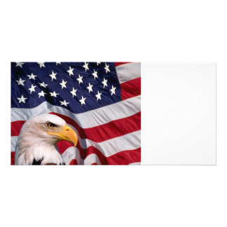 Bald Eagle with American Flag Card