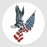 Bald Eagle with American Flag Classic Round Sticker