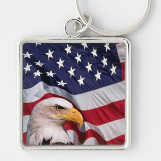 Bald Eagle with American Flag in the background Keychain