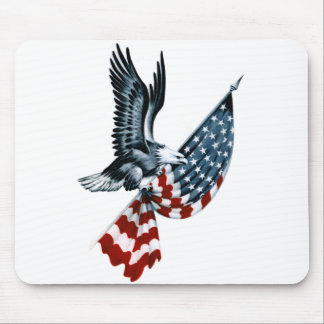 Bald Eagle with American Flag Mouse Pad