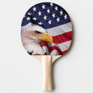 Bald Eagle with American Flag Ping Pong Paddle