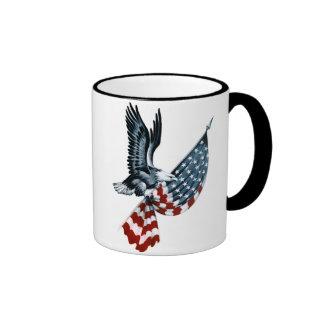 Bald Eagle with American Flag Ringer Coffee Mug