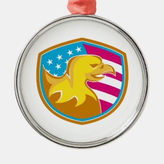 Bald Eagle With American Stars and Stripes Metal Ornament