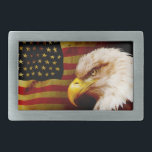 "Bald eagle with flag belt buckle<br><div class=""desc"">Bald eagle with flag</div>"