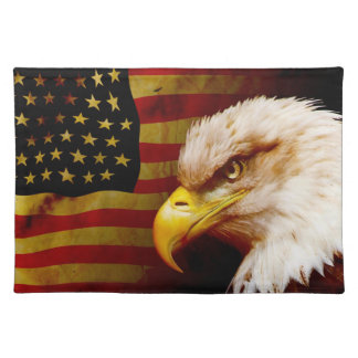 Bald eagle with flag cloth placemat