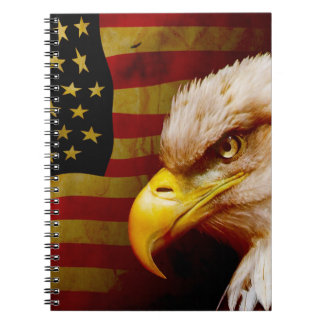 Bald eagle with flag notebook