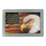 Bald eagle with flag rectangular belt buckle