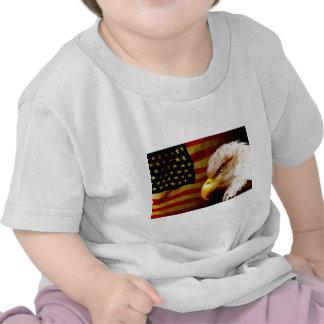 Bald eagle with flag tee shirt