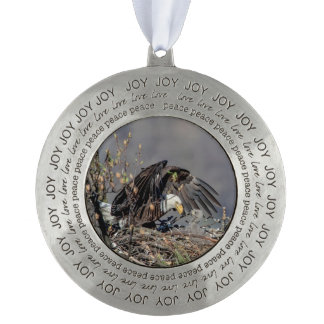 Bald Eagle with her baby Pewter Ornament