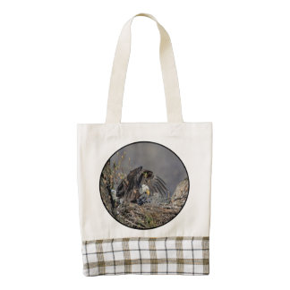 Bald Eagle with her baby Zazzle HEART Tote Bag