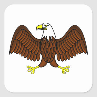 Bald Eagle with Outstretched Wings Square Sticker