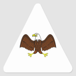 Bald Eagle with Outstretched Wings Triangle Sticker