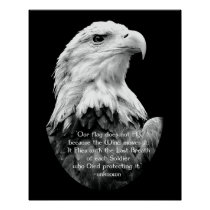 Bald Eagle with Patriotic Quote Poster
