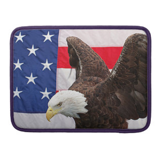 Bald Eagle with the American Flag MacBook Pro Sleeve