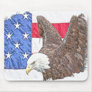 Bald Eagle with the American Flag Mouse Pad