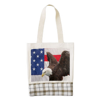 Bald Eagle with the American Flag Zazzle HEART Tote Bag