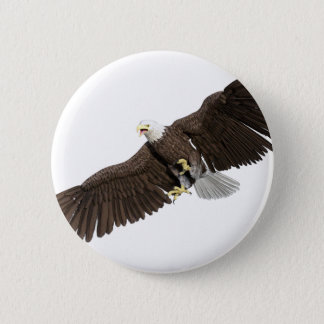 Bald Eagle with wings on down stroke Button