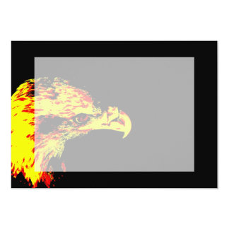 bald eagle yellow graphic black back 5x7 paper invitation card