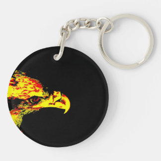 bald eagle yellow graphic black back keychain