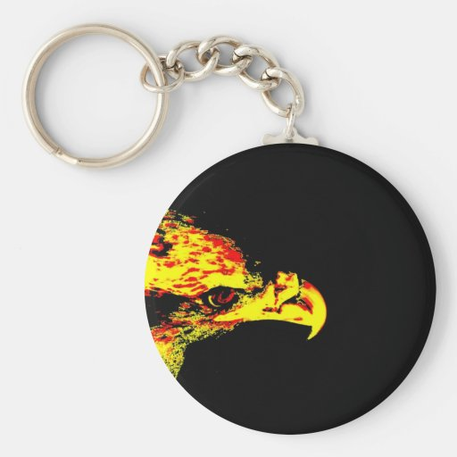 bald eagle yellow graphic black back basic round button keychain