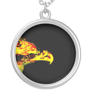 bald eagle yellow graphic black back round pendant necklace