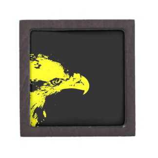 bald eagle yellow graphical facing right black jewelry box