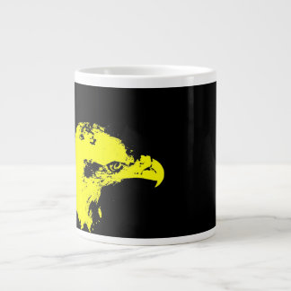 bald eagle yellow graphical facing right black large coffee mug