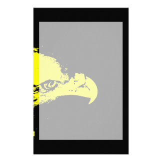 bald eagle yellow graphical facing right black stationery