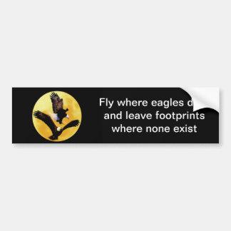 Bald eagles and full moon bumper sticker