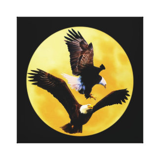 Bald eagles and full moon canvas print