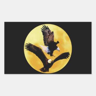 Bald eagles and full moon rectangular sticker