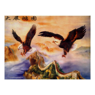 Bald Eagles over Great Wall of China Poster