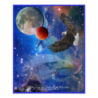 Bald Eagles, Space, Planets, Galaxies Art Poster