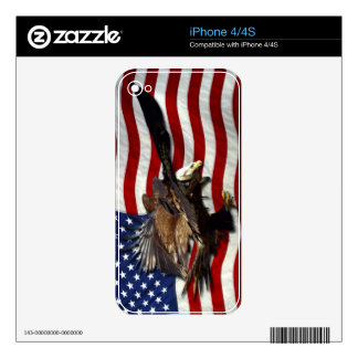 Bald Eagles & US Flag Patriotic iPhone Skin Decal For The iPhone 4