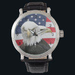 """Bald eagles watch<br><div class=""""desc"""">Two bald eagles with an American flag background patriotic wrist watch</div>"""