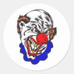 bald evil clown classic round sticker