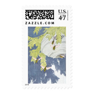 Bald-Faced Hornets and Their Paper Nest Postage