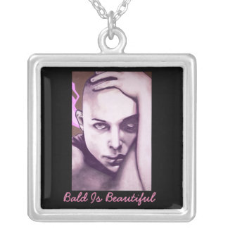Bald Is Beautiful - Breast Cancer Awareness Square Pendant Necklace