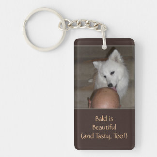 Bald is Beautiful with Dog Funny Favors Keychain