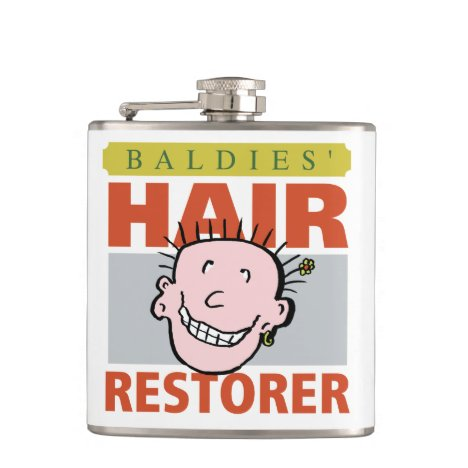 Baldies Hair Restorer Funny Design Flask