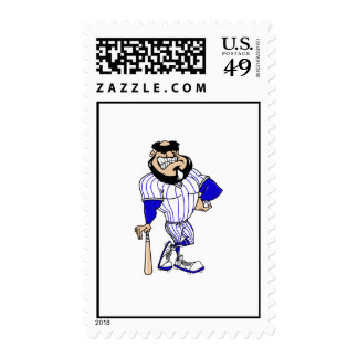 Balding player in blue pinstripes stamps