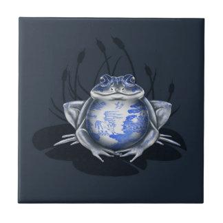 Baldosa cerámica azul de la rana de Bull del sauce Azulejo Cuadrado Pequeño