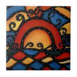 Baldosa cerámica brillante de la puesta del sol de tejas  cerámicas