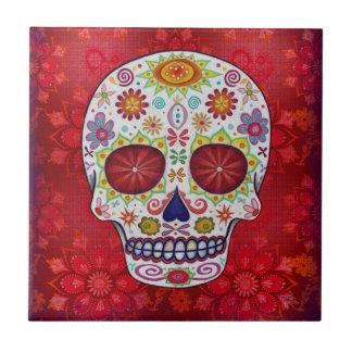 Baldosa cerámica de Dia de los Muertos Skull Azulejo Cuadrado Pequeño