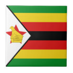Baldosa cerámica de la bandera de Zimbabwe Teja