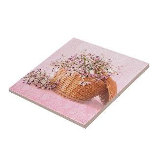 Baldosa cerámica de la cesta de la flor del vintag azulejo cuadrado pequeño