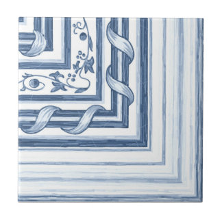 Baldosa cerámica de la esquina del cordón de Delft Azulejo Cuadrado Pequeño